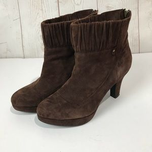 indigo by Clarks brown suede leather heeled bootie